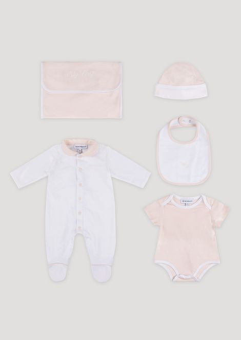 Gift set in pure cotton with a romper, vest, hat and bib