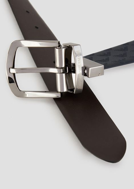 Croc print leather and smooth leather belt