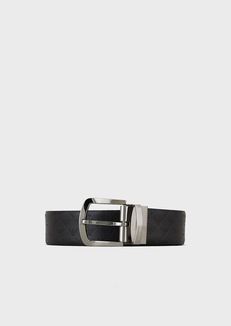 Belt in smooth all-over printed leather