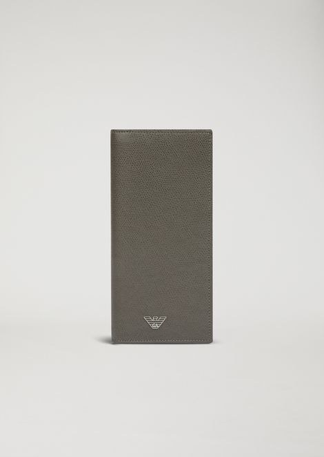 Vertical printed leather wallet
