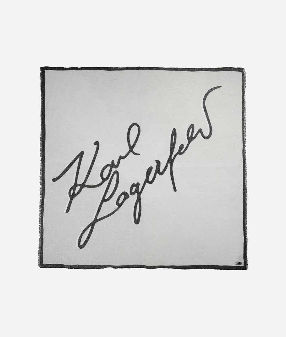 KARL LAGERFELD Signature Lurex Scarf Scarf Woman f