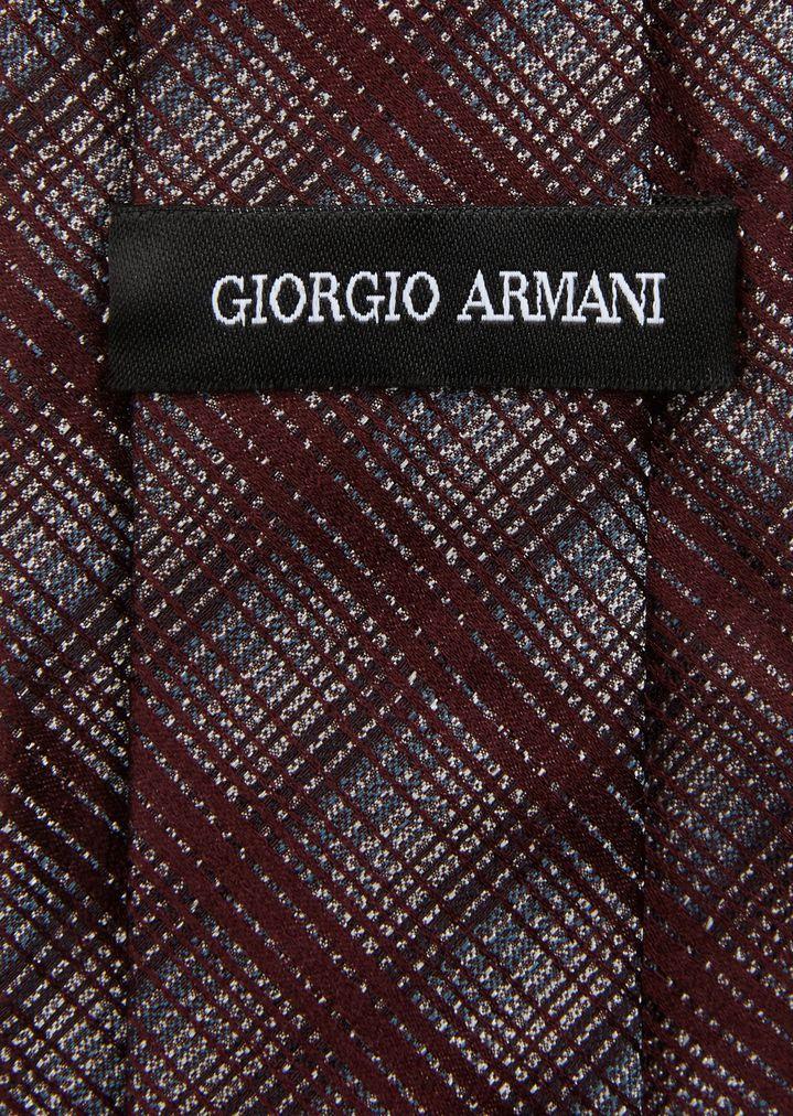 Silk Tie With Ombré Check Pattern Man Giorgio Armani Extraordinary Check Pattern