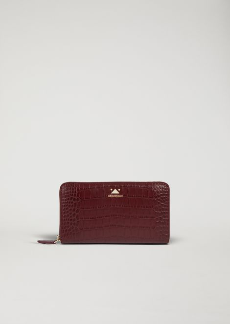 15372ad10fd4 Horizontal wallet with zip in croc print leather