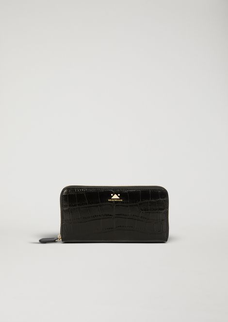 Horizontal wallet with zip in croc print leather