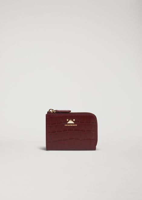 Mini-wallet with zip in croc print leather