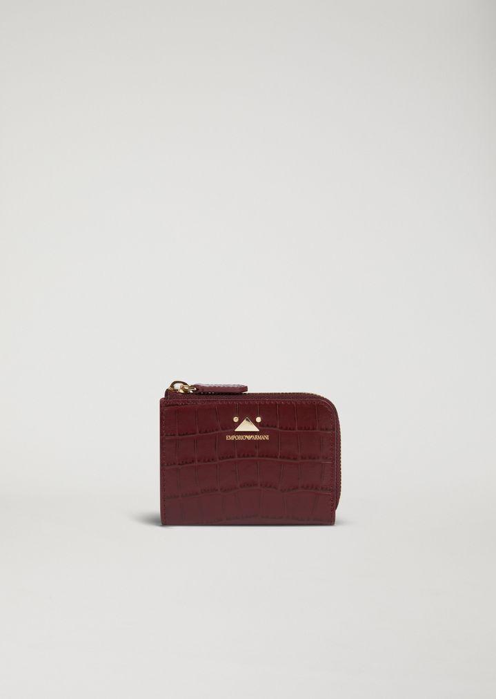a7657f95b1 Mini-portafoglio con zip in pelle stampa cocco | Donna | Emporio Armani