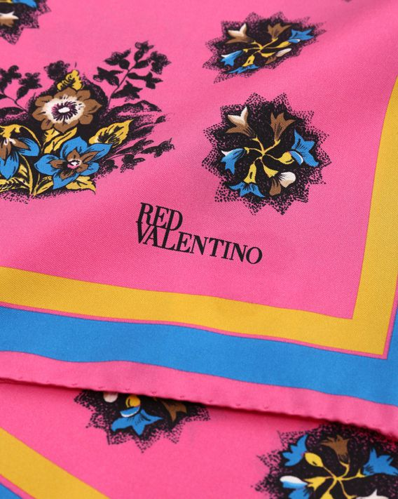 REDValentino Bright Flowers print silk twill foulard