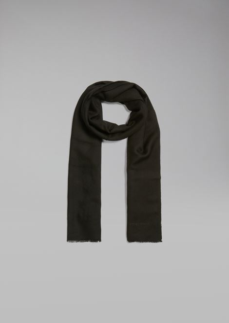 Stole in pure cashmere with fringed edge