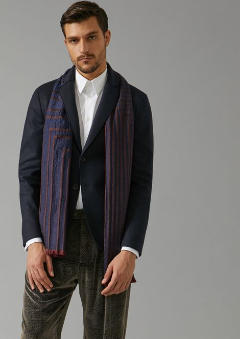 Silk and virgin wool scarf in striped jacquard fabric
