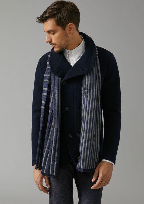 Silk and virgin wool scarf in striped jacquard fabric
