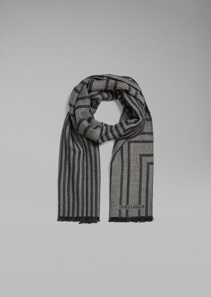 a347240a46 Silk and virgin wool scarf in striped jacquard fabric | Man ...