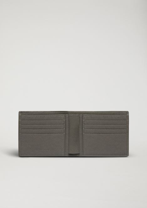 Bi-fold wallet in boarded leather