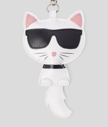 KARL LAGERFELD CHOUPETTE LEATHER KEYCHAIN