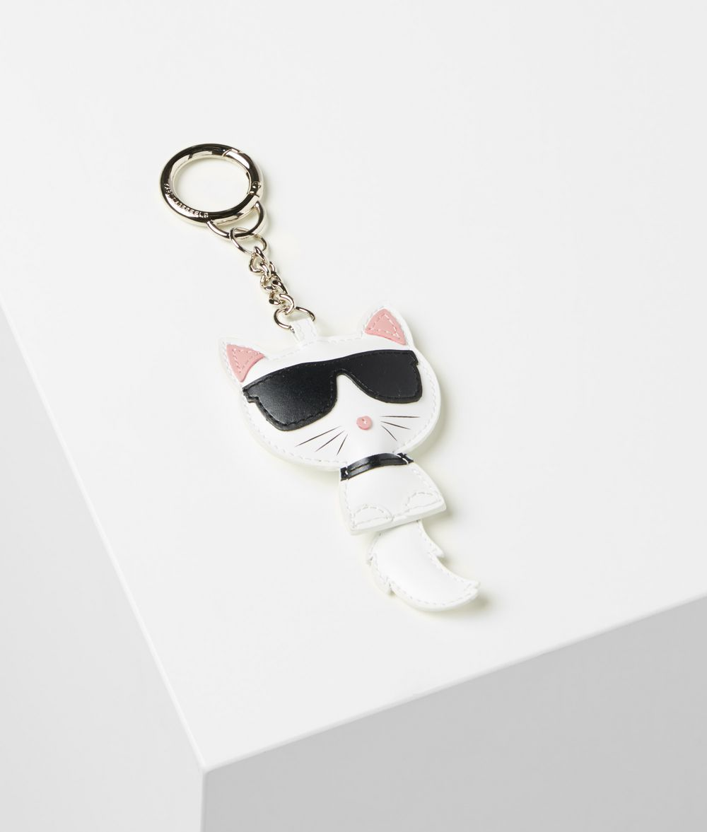 KARL LAGERFELD Choupette Leather Keychain Key Chain Woman f