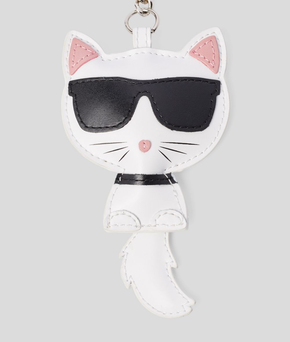KARL LAGERFELD Choupette Leather Keychain Key Chain Woman r