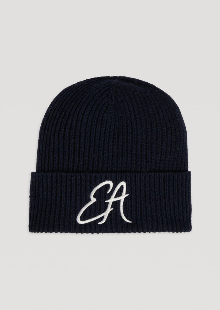 1bef9835460d3 Ribbed knit hat with embroidered EA logo