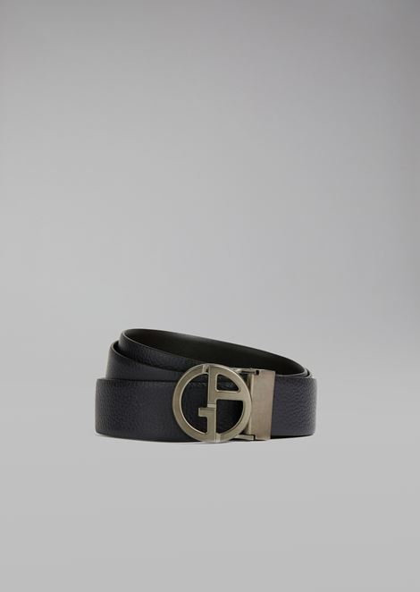 Belt in grained calfskin with metal logo