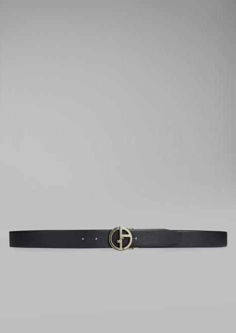 Cintura in pelle di vitello granato con logo in metallo