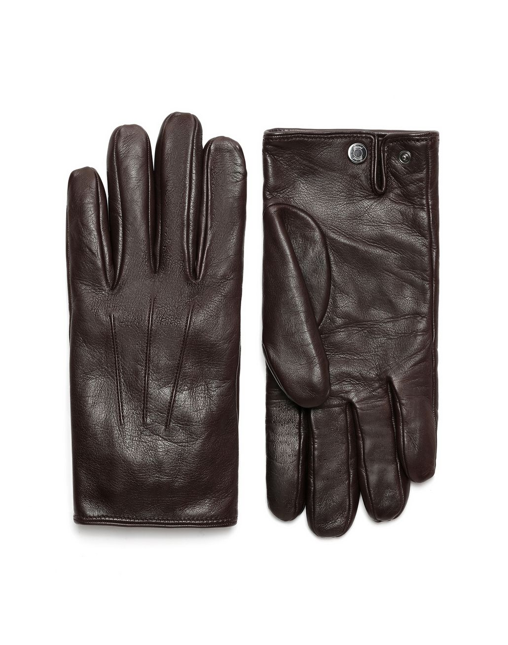 BRIONI Dark Brown Nappa Gloves Hats & Gloves Man f