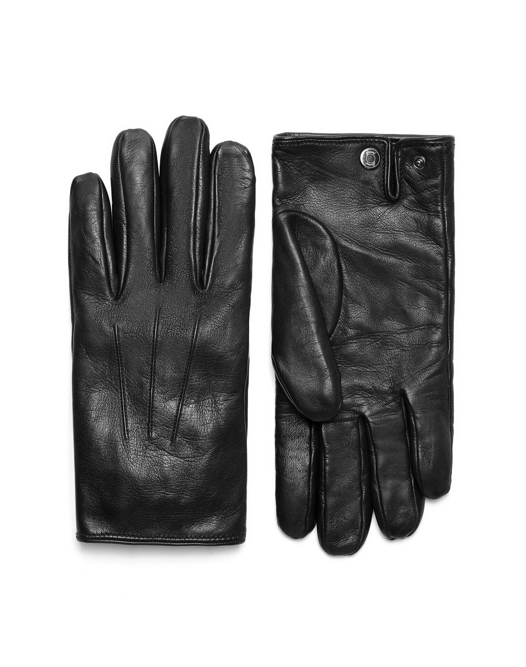 BRIONI Black Nappa Gloves Hats & Gloves Man f