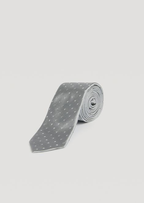 Silk tie with micro polka dots