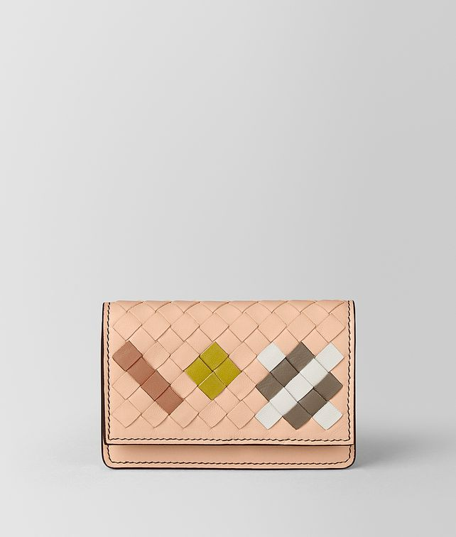 BOTTEGA VENETA PORTA CARTE IN INTRECCIATO ABSTRACT PEACH ROSE Porta Carte e Portamonete E fp