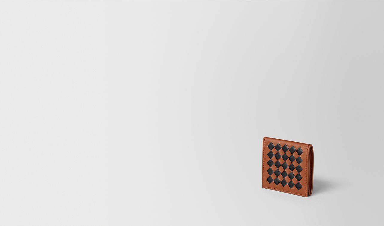 dark leather/nero intrecciato checker coin purse landing