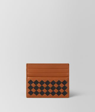 DARK LEATHER INTRECCIATO CHECKER CARD CASE