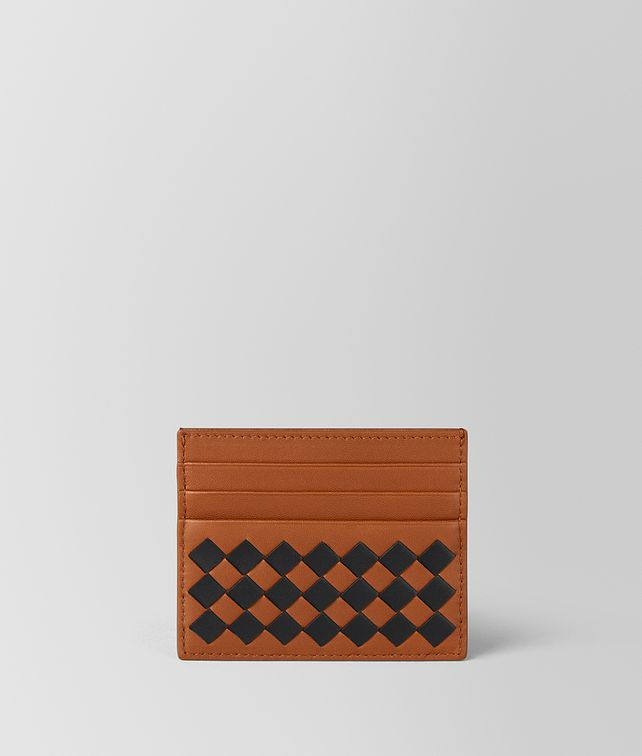 BOTTEGA VENETA DARK LEATHER INTRECCIATO CHECKER CARD CASE Card Case [*** pickupInStoreShippingNotGuaranteed_info ***] fp