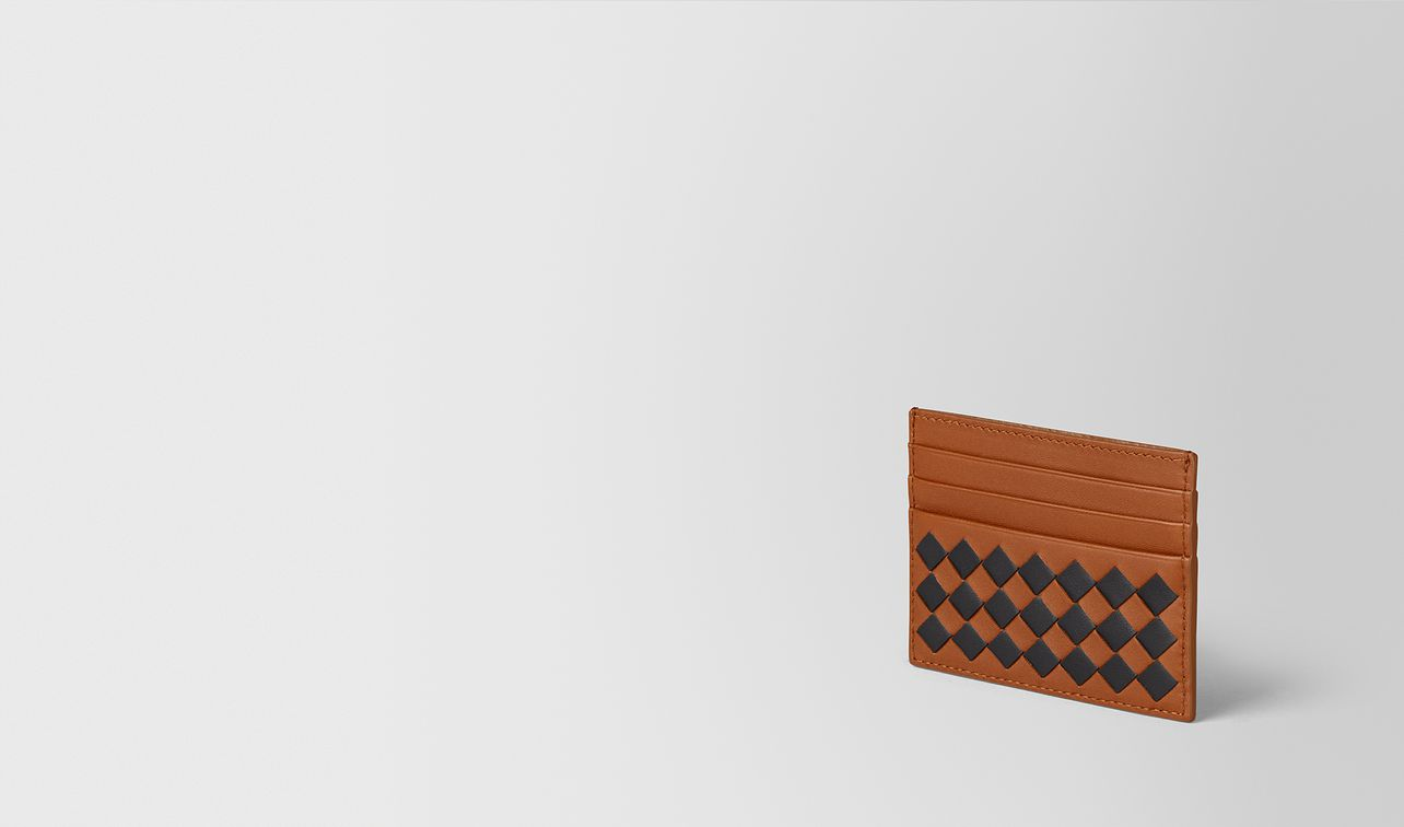 dark leather intrecciato checker card case landing