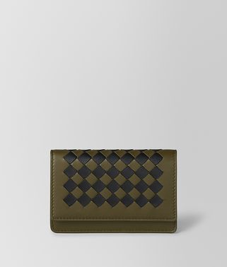 MUSTARD/NERO INTRECCIATO CHECKER CARD CASE