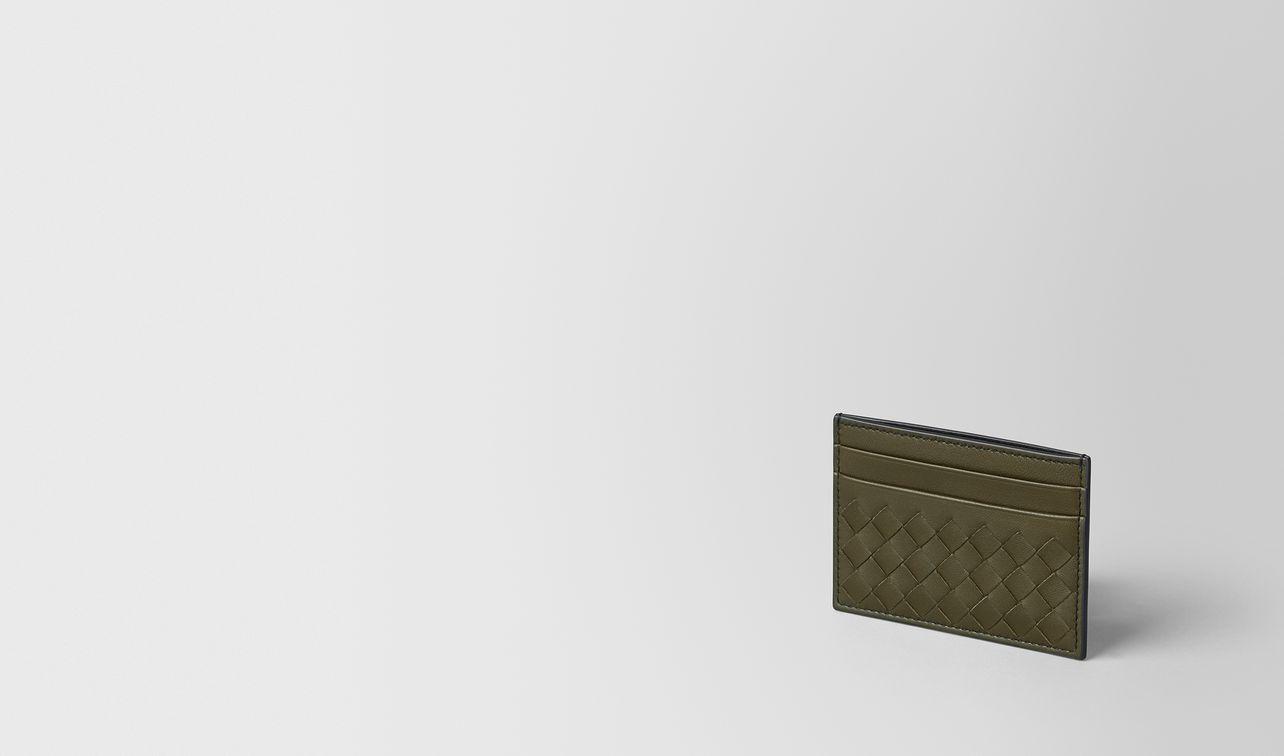 porta carte in intrecciato nappa mustard/nero landing