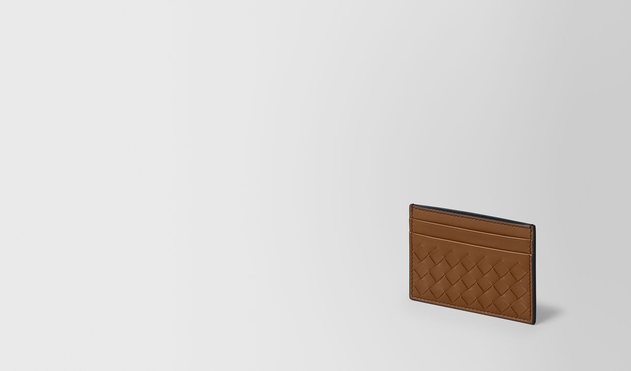 étui pour cartes en cuir nappa intrecciato dark leather/nero landing