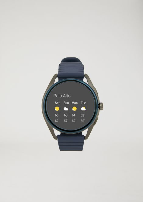 Touchscreen smartwatch with stainless-steel case and rubber strap