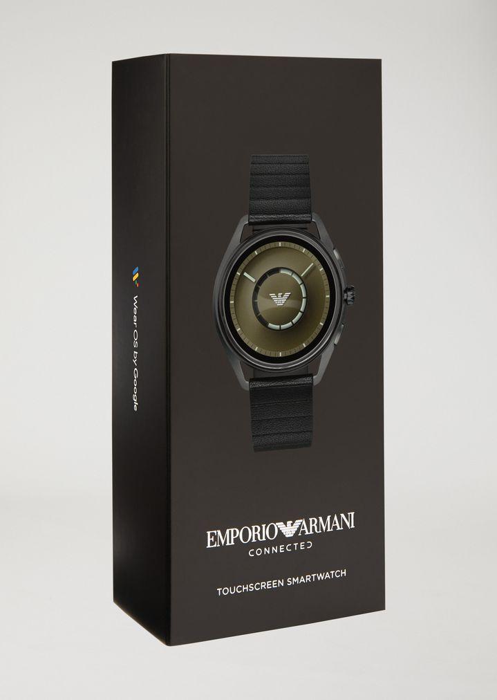 EMPORIO ARMANI Smartwatch touchscreen con cassa in acciaio placcato grigio e cinturino nero in gomma Connected E b