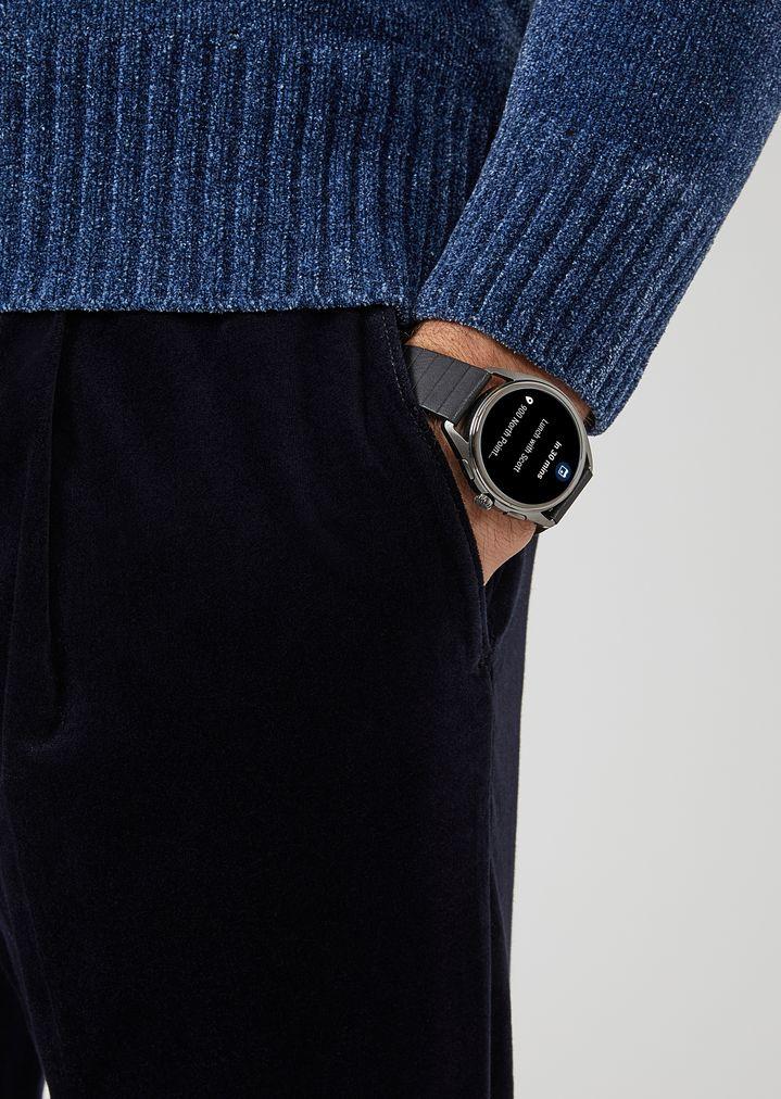 EMPORIO ARMANI Smartwatch touchscreen con cassa in acciaio placcato grigio e cinturino nero in gomma Connected E c