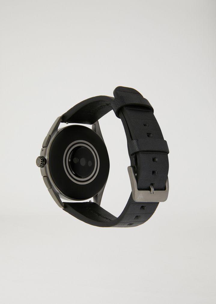 EMPORIO ARMANI Smartwatch touchscreen con cassa in acciaio placcato grigio e cinturino nero in gomma Connected E d