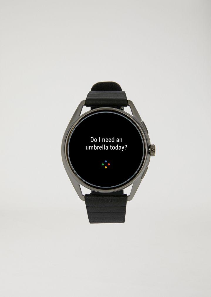 EMPORIO ARMANI Smartwatch touchscreen con cassa in acciaio placcato grigio e cinturino nero in gomma Connected E r