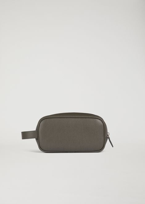 Wash bag in boarded printed leather