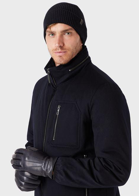 Watch cap in full cardigan rib pure cashmere