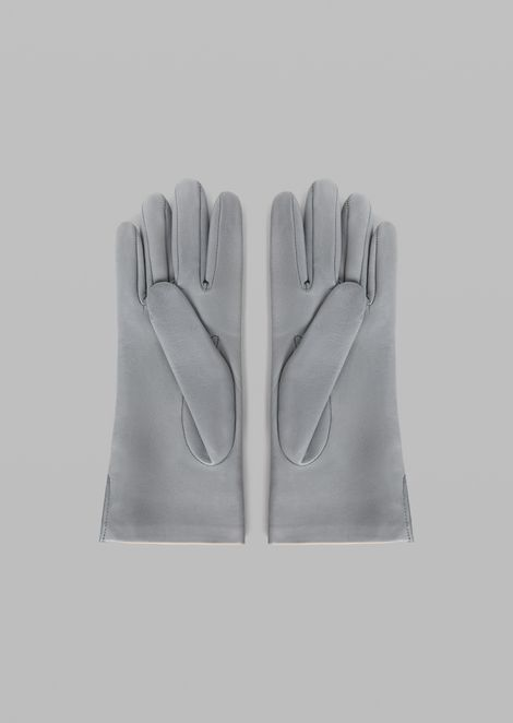 Two-colour leather gloves with side slits