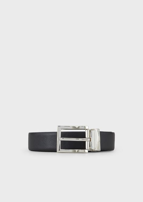 Reversible belt in two-tone saffiano-print leather