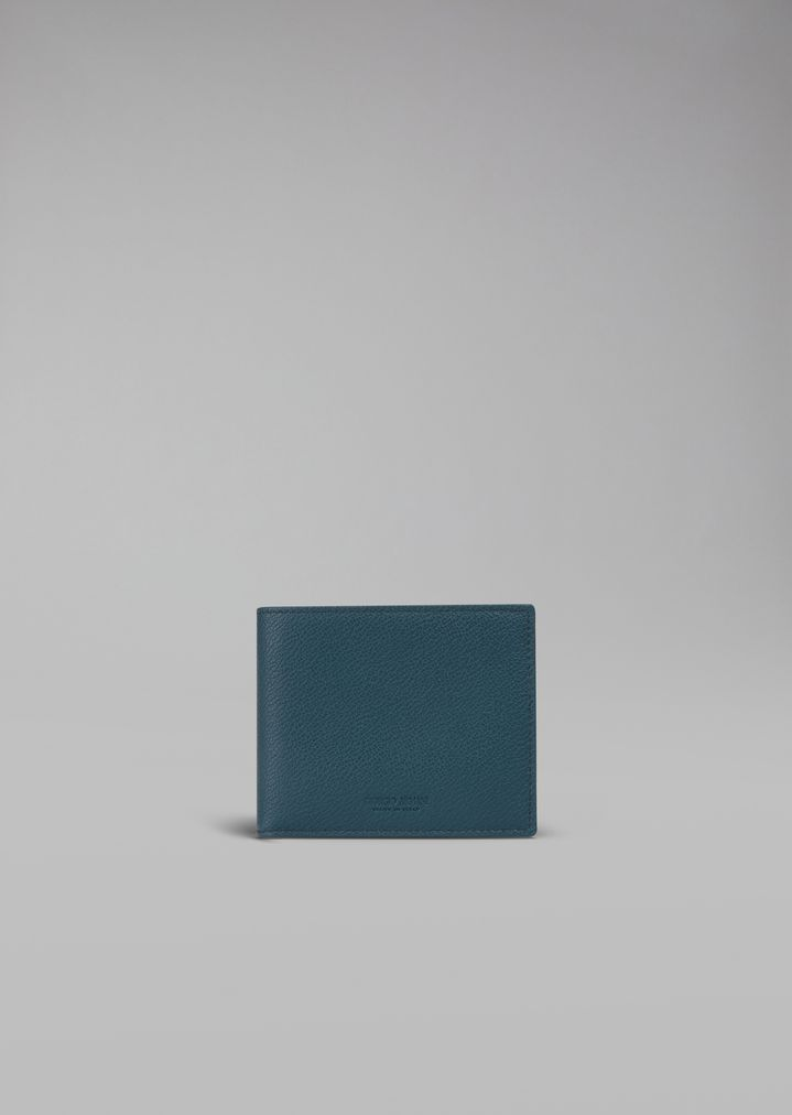 a4f5a388eb Bifold wallet in grained leather with coin pocket