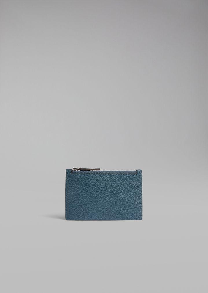giorgio armani cardholder in grained leather with zip card holder man f - Zip Card Holder