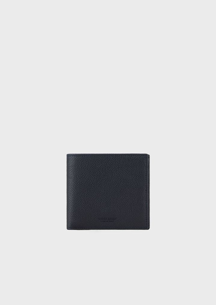 cde6da3693 Bifold wallet in grained leather with coin pocket