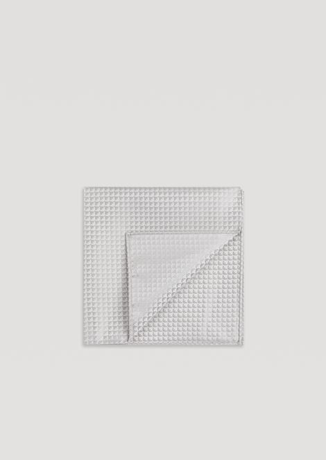 Pocket square in pure silk with geometric motif