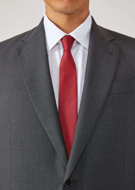 Silk tie with all-over logo print