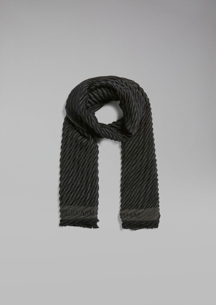 e8996aafde Pure wool scarf with plissé diagonal stripes | Man | Giorgio Armani