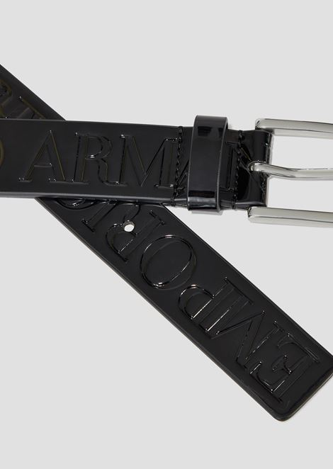 Patent leather belt with Emporio Armani logo