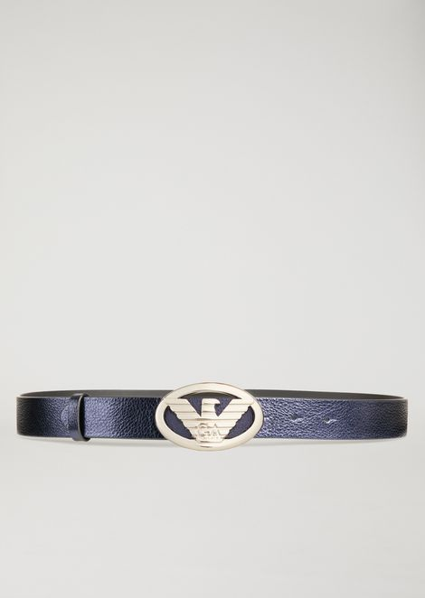 Belt in laminated leather with large logo buckle
